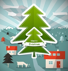 Merry Christmas Cartoon with Paper Trees - D vector