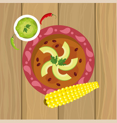 Mexican traditional food with avocado and cob vector