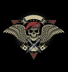 Military skull with wings and daggers vector
