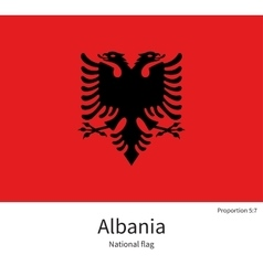 National flag of albania with correct proportions vector
