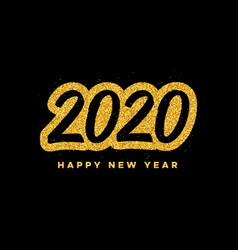 new year 2020 greeting card with calligraphy vector image