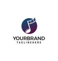 Note music symbols logo design concept template vector
