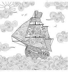 Ornate image of sailing ship on the wave in vector