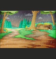 Park scene on rainy day vector