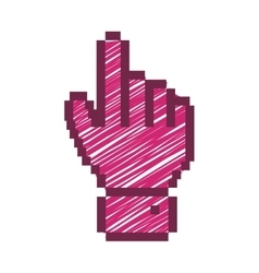 pixelated hand pointing up with fushia striped vector image