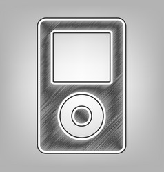 portable music device pencil sketch vector image