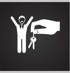 Property key gifting hand on black backgorund vector