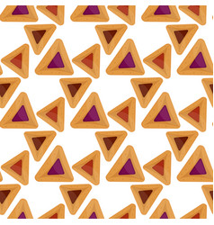 Purim hamantaschen seamless pattern jewish vector