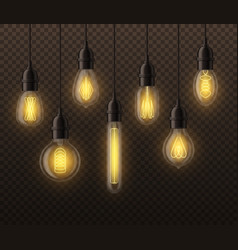 realistic light bulbs hanging vintage edison vector image