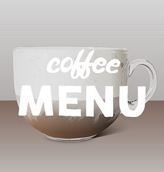 Realistic transparent glass cup of cappuccino and vector