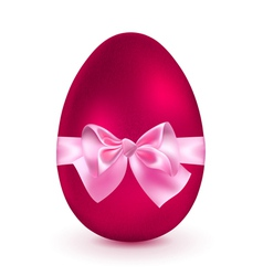 Red egg with pink bow vector image