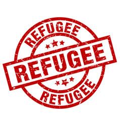 Refugee round red grunge stamp vector