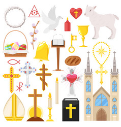 Religion catholic church or cathedral vector