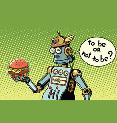 Robot hamburger fast food vector