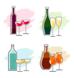 Set alcoholic beverages and glasses vector