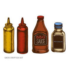 set hand drawn colored sauce bottles vector image
