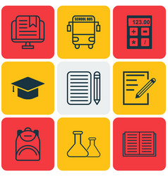 set of 9 education icons includes paper vector image