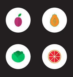 Set of dessert icons flat style symbols with plum vector
