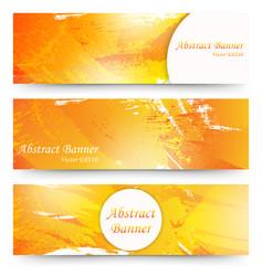Set of orange watercolor banners vector
