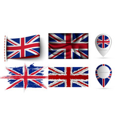 set united kingdom flags collection isolated vector image