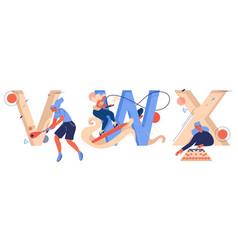 Sport letters v for vigoro w for wakeboarding vector