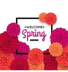 Spring Banner with colorful paper flower and black vector image