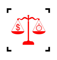 stopwatch and dollar symbol on scales red vector image