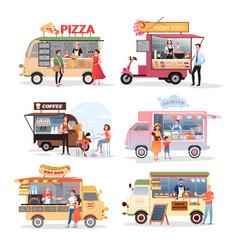 Street market food truck set vector