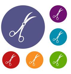 Surgical scissors icons set vector