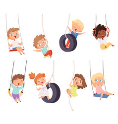 swing rides gymnastic exercise children vector image