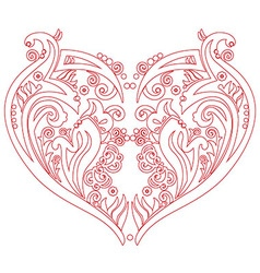 Swirly heart tatoo inspired cutout card vector