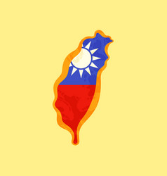 taiwan - map colored with taiwanese flag vector image