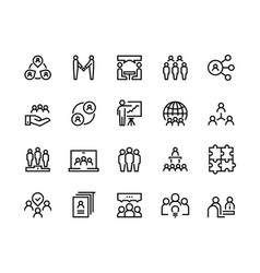 Team work line icons business person group work vector