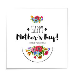 template happy mothers day card with flowers vector image