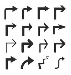 Turn Right Flat Icon Set vector