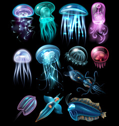 underwater animals icon set vector image