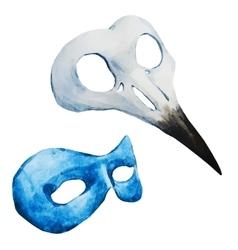 Watercolor venecian mask vector