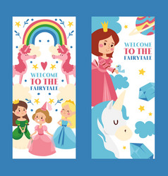 Welcome to fairytale set banners vector