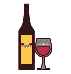 wine cup and bottle kawaii cute cartoon vector image