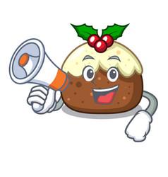 With megaphone fruit cake character cartoon vector