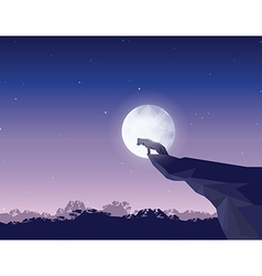 Wolf on rock at night with moon vector