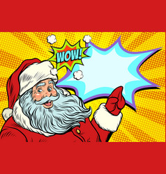 wow santa claus new year and christmas vector image