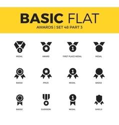 Basic set of awards icons vector