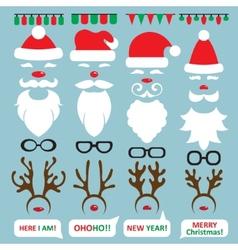Christmas Photo Booth and scrapbooking set Santa vector image