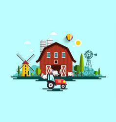 Eco farm with barn tractor windmills and cows vector