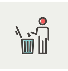 Man throwing garbage in a bin thin line icon vector image vector image