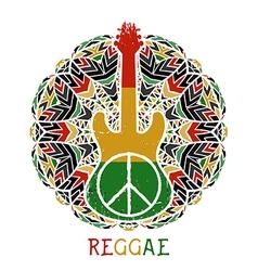 peace symbol and guitar on ornate mandala vector image vector image