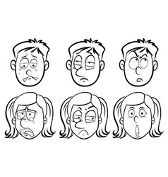 people with different facial expressions vector image vector image