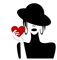 Sexy woman portrait holding a heart vector image