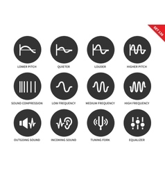Sound waves icons on white background vector image vector image